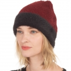 CH0711 Very Soft Texture Two-tone Beanie, Burgundy