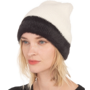 CH0711 Very Soft Texture Two-tone Beanie, Ivory