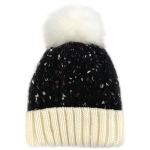 CH0713 Multi Colors Cable Knitted Beanie W/Faux Fur Pom, Black