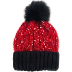 CH0713 Multi Colors Cable Knitted Beanie W/Faux Fur Pom, Burgundy