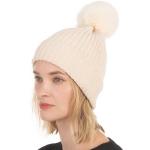 CH0715 Solid Knitted Pattern Beanie with Pom, Ivory