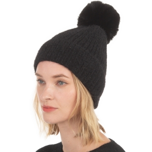 CH0715 Solid Knitted Pattern Beanie with Pom, Black