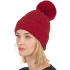 CH0715 Solid Knitted Pattern Beanie with Pom, Burgundy