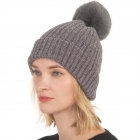 CH0715 Solid Knitted Pattern Beanie with Pom, Grey