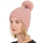 CH0715 Solid Knitted Pattern Beanie with Pom, Pink