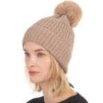 CH0715 Solid Knitted Pattern Beanie with Pom, Taupe