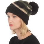 CH0716 Camouflage Pattern Soft Beanie with Pom