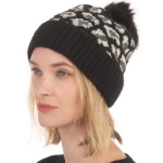 CH0717 Leopard Pattern Beanie with Pom, Black