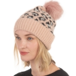 CH0717 Leopard Pattern Beanie with Pom, Pink