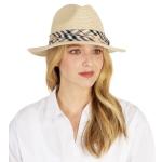 CH1302 Basic Plaid Trim Boho Straw Hat, Beige