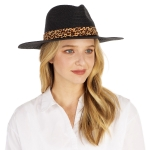 CH1303 Leopard Trim Straw Panama Hat, Black