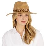 CH1303 Leopard Trim Straw Panama Hat, Natural