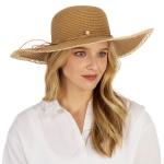 CH1304 Pearl & Straw String Floppy Straw Hat, Natural