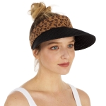CH1305 Leopard Trim Straw Visor Hat, Black