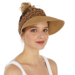 CH1305 Leopard Trim Straw Visor Hat, Natural