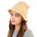 CH1903 Solid Color Cable Knit Bucket Hat, Beige