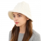 CH1903 Solid Color Cable Knit Bucket Hat, Ivory