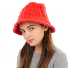 CH1903 Solid Color Cable Knit Bucket Hat, Red