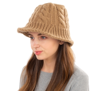 CH1903 Solid Color Cable Knit Bucket Hat