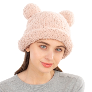 CH1904 Solid Color Teddy Bear Chenille Hat