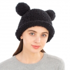 CH1904 Solid Color Teddy Bear Chenille Hat, Black