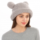 CH1904 Solid Color Teddy Bear Chenille Hat, Grey