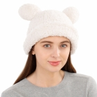 CH1904 Solid Color Teddy Bear Chenille Hat, Ivory