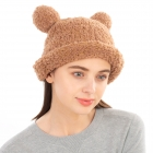 CH1904 Solid Color Teddy Bear Chenille Hat, Taupe