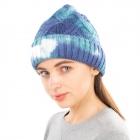 CH1905 Tie-dye Pattern Woven Beanie, Blue