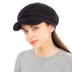 CH1939 Solid Cabby Fuzzy Hat, Black
