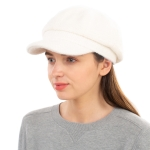CH1939 Solid Cabby Fuzzy Hat, Ivory