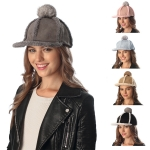CH6303 FAUX SUEDE CAP WITH DETACHABLE POM POM