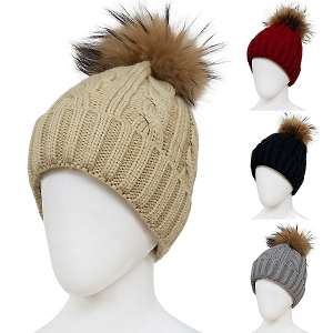 CH6306 Knitted Hat with Detachable Real Fur Pom Pom