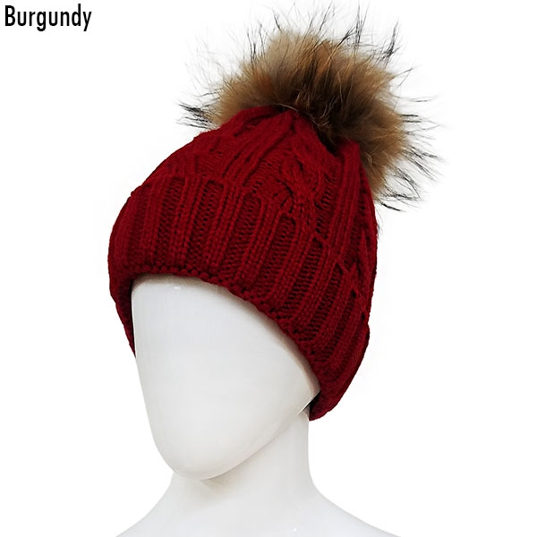 be2d59a41f8 CH6306 Knitted Hat with Detachable Real Fur Pom Pom    Wholesale ...