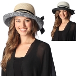 CH6312 Two Toned Straw Boater Hat