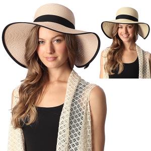CH6315 Wide Brim Sun Hat w/ Striped Bow