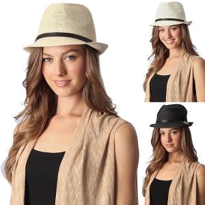 CH6317 Anchor Straw Fedora Summer Hat
