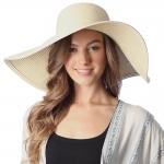 CH6319 Wide Brim Floppy Beach Hat, Beige