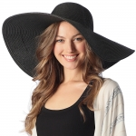 CH6319 Wide Brim Floppy Beach Hat, Black