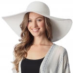 CH6319 Wide Brim Floppy Beach Hat, Ivory