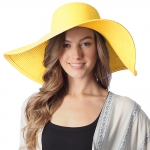 CH6319 Wide Brim Floppy Beach Hat, Yellow