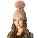 CH6402/385 Solid Beanie W/ Detachable Real Fur Pom Pom, Pink