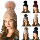 CH6402/385 SOLID BEANIE W/ DETACHABLE REAL FUR POM POM