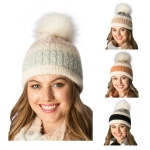 CH6404 Multi Colored Knitted Beanie W/Faux Fur Pom Pom