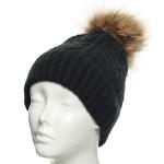 CH8201 Patterned Knit Beanie W/ Detachable Faux Fur Pom Pom, Black