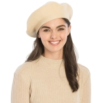 CH8202 Stretchy Knitted Beret, Beige