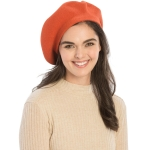 CH8202 Stretchy Knitted Beret, Rust
