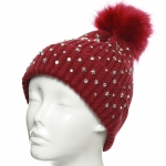 CH8205 Star Studded Beanie W/ Detachable Faux Fur Pom Pom, Burgundy
