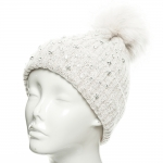 CH8205 Star Studded Beanie W/ Detachable Faux Fur Pom Pom, Ivory