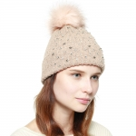 CH8205 Star Studded Beanie W/ Detachable Faux Fur Pom Pom, Pink